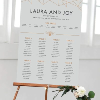 Geometric Table plan designed by Rodo Creative in Manchester