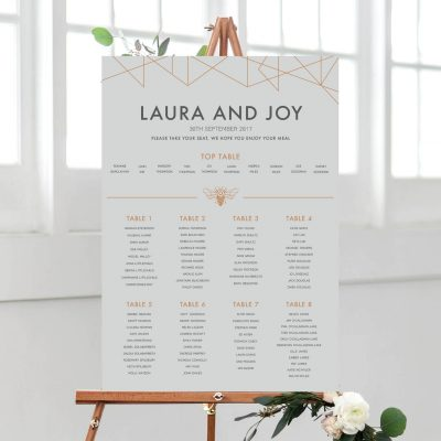 Geometric Table Plan - Designed by Rodo Creative in Manchester
