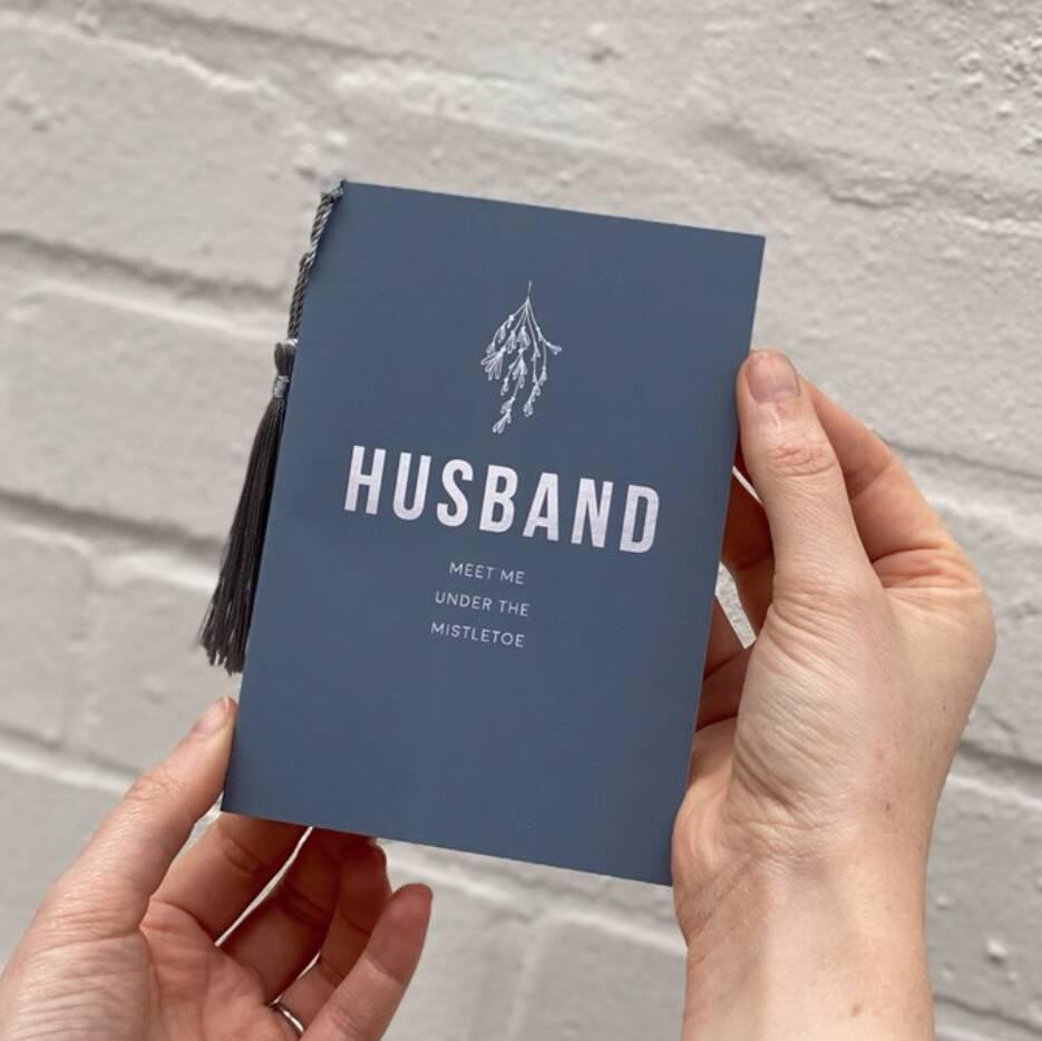 Festival Husband Christmas Card with Mistletoe - Rodo Creative Manchester