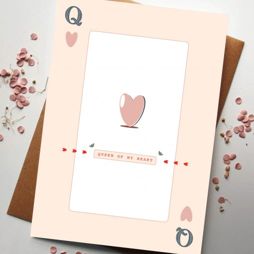 Queen of My Heart Card - Designed by Rodo Creative - Based in Manchester