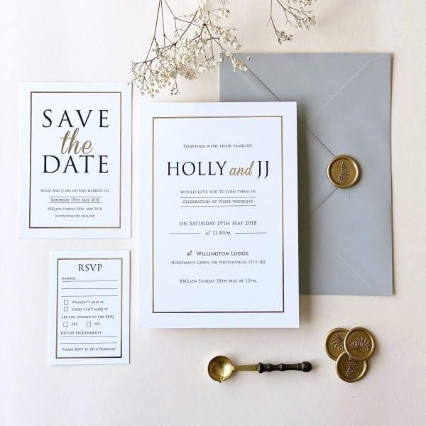 Modern Gold Foil Wedding Invitations - Designed by Rodo Creative