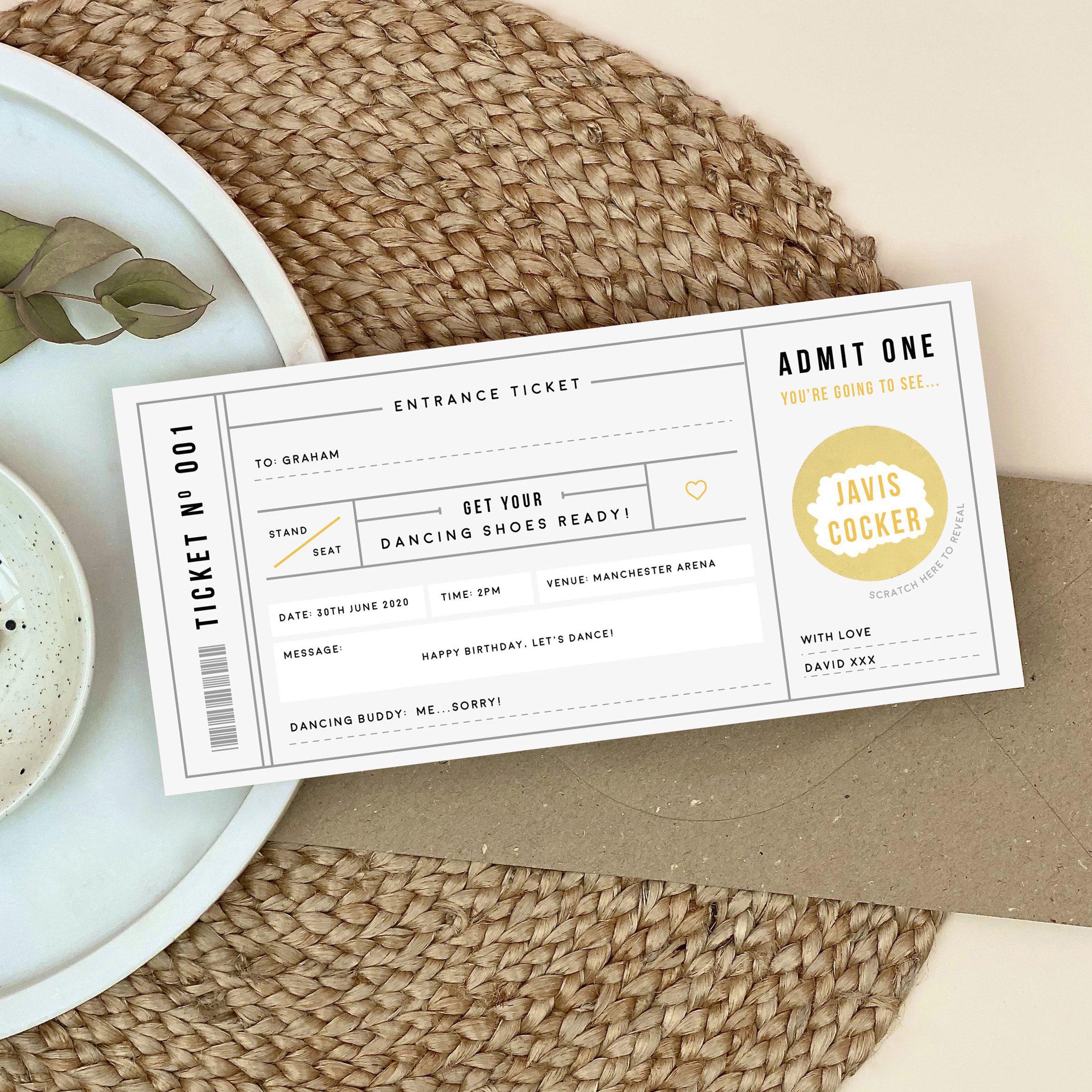 Grey Scratch Off Concert Ticket - Designed by Rodo Creative
