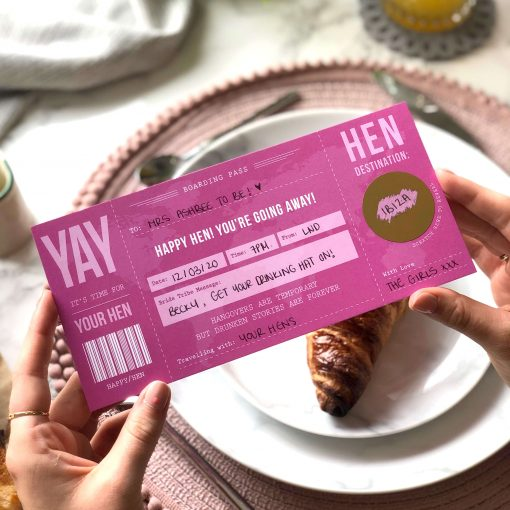 Hen Party Scratch Off Boarding Pass designed by Rodo Creative in Manchester