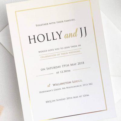Modern Gold Foil Wedding Invitations designed by Rodo Creative