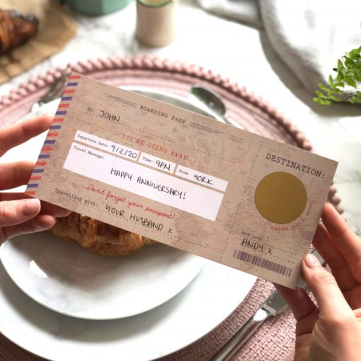 Vintage Scratch off Boarding Pass Travel Gift by Rodo Creative in Manchester