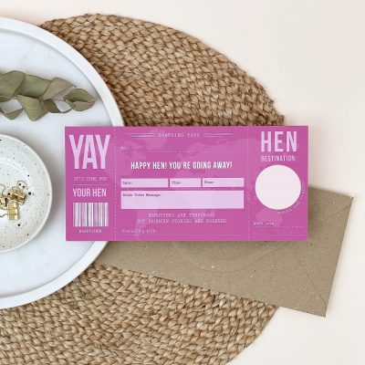 Hen Party Scratch Off Boarding Pass - Designed by Rodo Creative