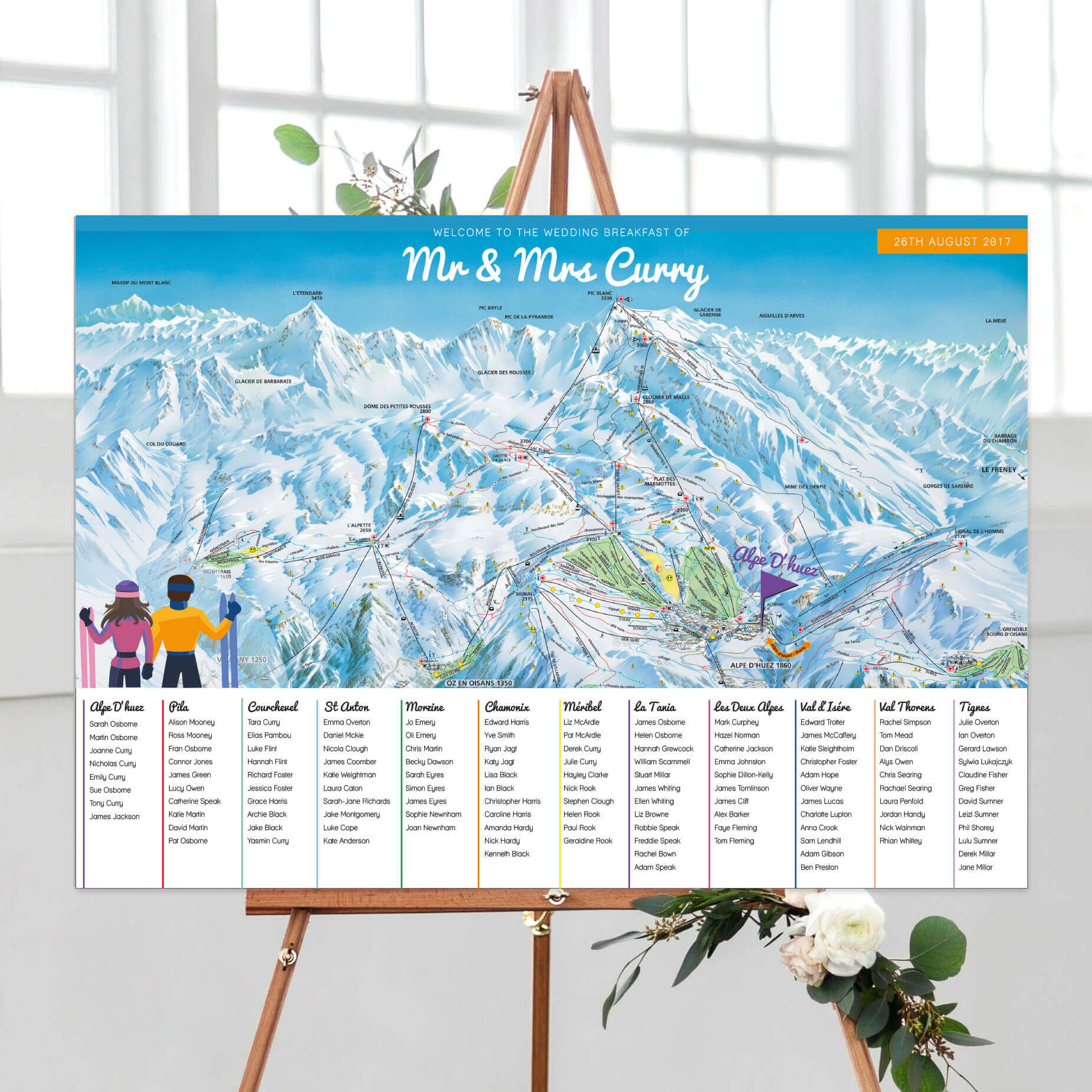 Ski Themed Table Plan designed by Rodo Creative in Manchester