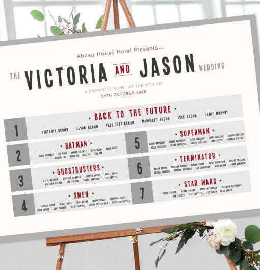 Retro Movie Poster Table Plan - Designed by Rodo Creative