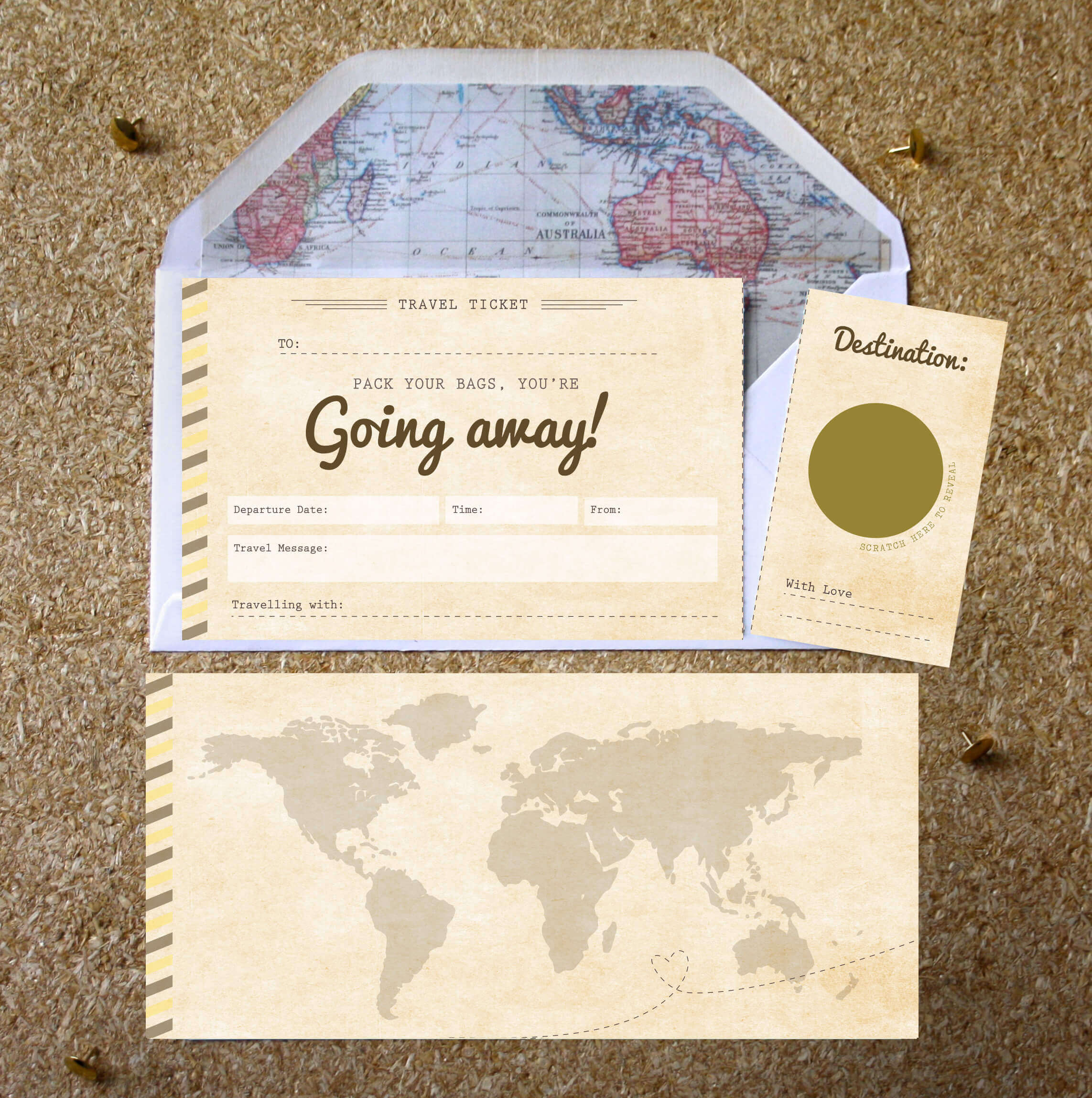 Youre Going Away Scratch Off Boarding Pass Designed By