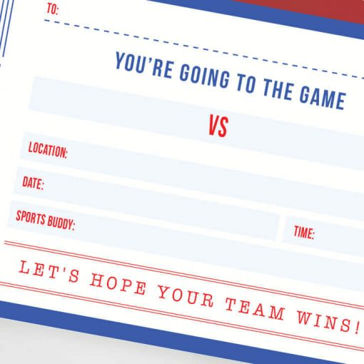 surprise game ticket for a sports fan