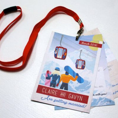 Ski Pass Lanyard Wedding Invitations Designed by Rodo Creative
