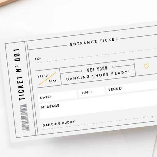 Grey Scratch Off Concert Ticket gift - designed by Rodo Creative in Manchester