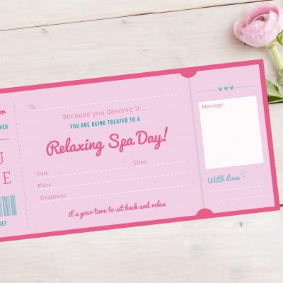 Spa Day Treatment Ticket Gift designed in Manchester By Rodo Creative