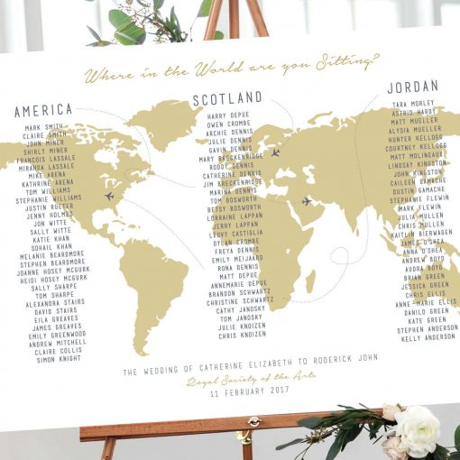 where in the world Table plan designed by Rodo Creative in Manchester