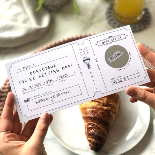 Bon voyage Vintage Scratch Off Boarding Pass - Rodo Creative