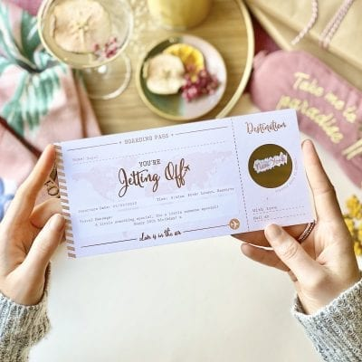 Love Is In The Air Foiled Scratch off Boarding Pass - Designed by Rodo Creative