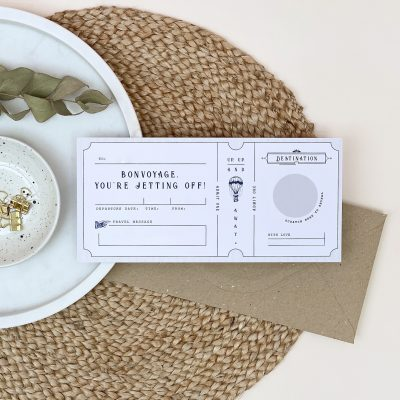 Bon Voyage Scratch Off Boarding Pass - Designed by Rodo Creative - Wedding stationery and greetings card design