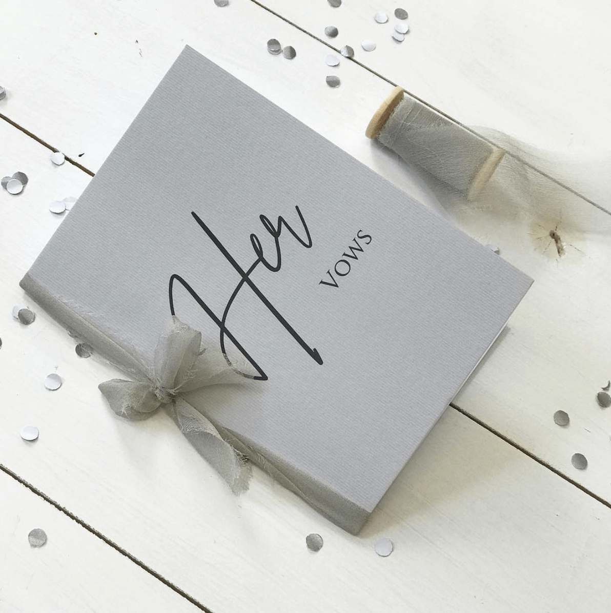 Elegant Light Grey Vow Book - Designed by Rodo Creative in Manchester