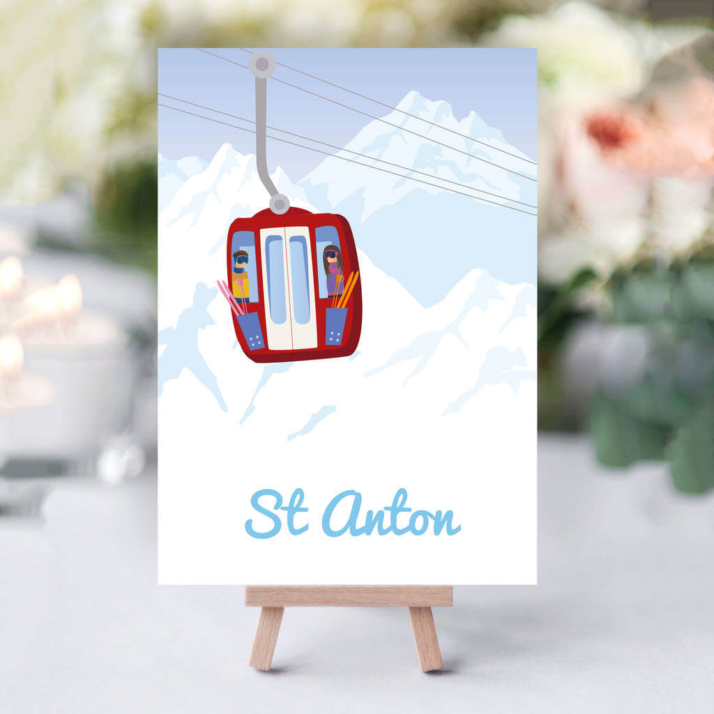 Do you and your other half have a passion to ski or snowboard? Give your guests something personal when they find their seats and create a talking point.