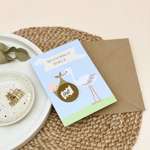 Baby Gender Announcement Stork Card - Designed by Rodo Creative
