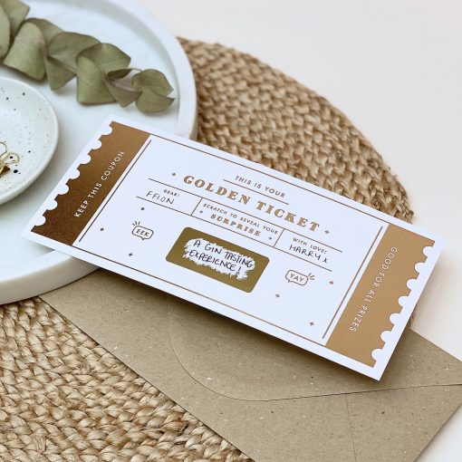 The Golden Ticket Scratch off card - Designed by Rodo Creative