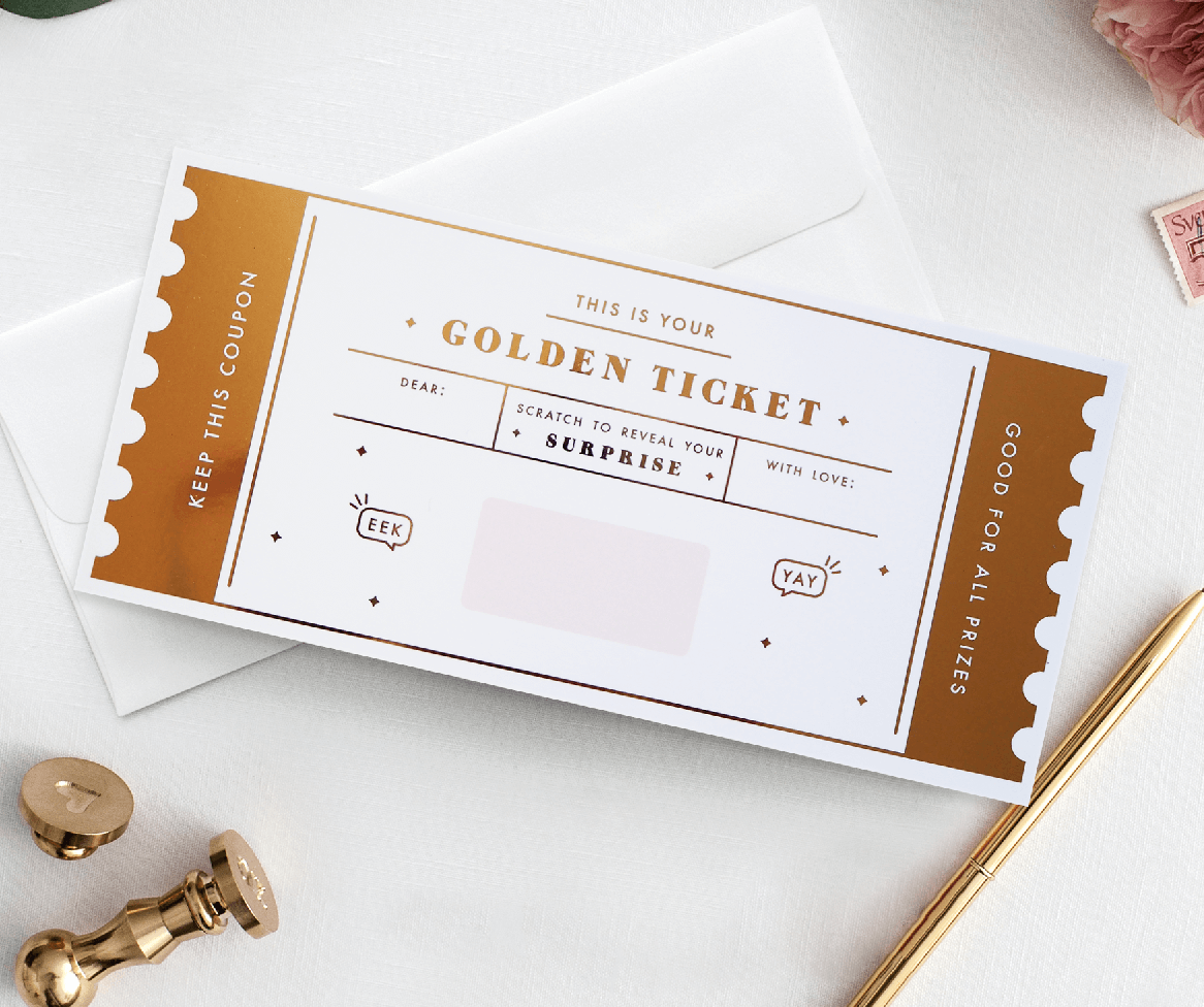 Golden Ticket scratch off - Designed by Rodo Creative in Manchester