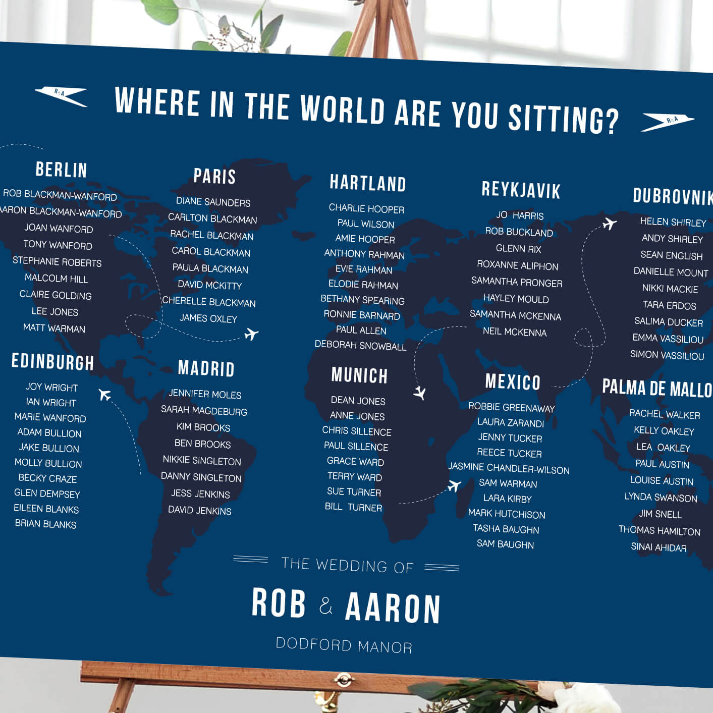 50s air travel table plan - Designed by Rodo Creative in Manchester
