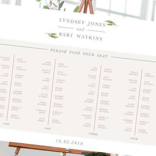 Delicate Foliage Table Plan - Designed by Rodo Creative in Manchester