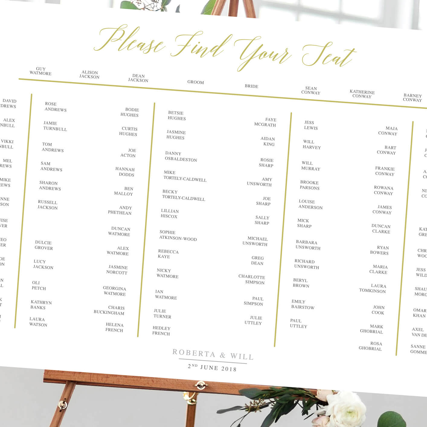 Elegant Gold Table Plan - Designed by Rodo Creative in Manchester