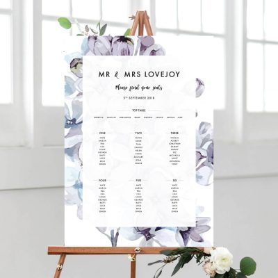 Lilac Petals Table Plan - Designed by Rodo Creative in Manchester