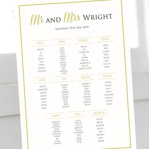 Modern Gold Table Plan - Designed by Rodo Creative in Manchester