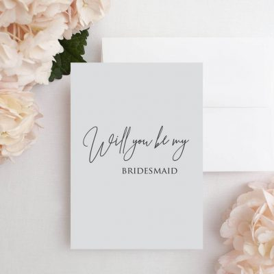 Grey 'Will You Be My Bridesmaid' Card - Designed by Rodo Creative in Manchester