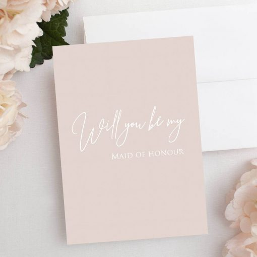 Pink 'Will You Be My Maid Of Honour' Card - Designed by Rodo Creative in Manchester