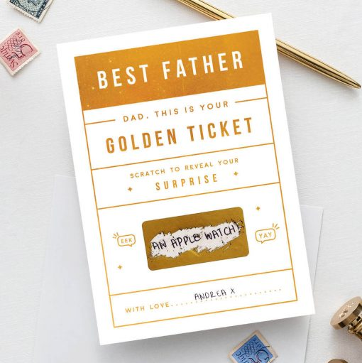 Dad's Golden Ticket Card - Designed by Rodo Creative in Manchester