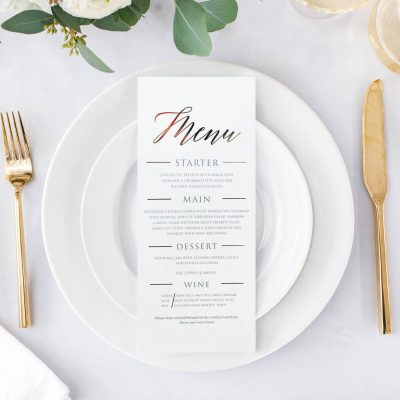 Let your guests know what food they can look forward to with this classic menu. A simple design with a high end, luxury feel.