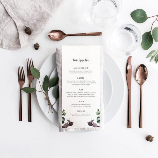 Let your guests know what food they can look forward to with this beautiful eucalyptus menu. Perfect for an elegant wedding with touches of foliage.