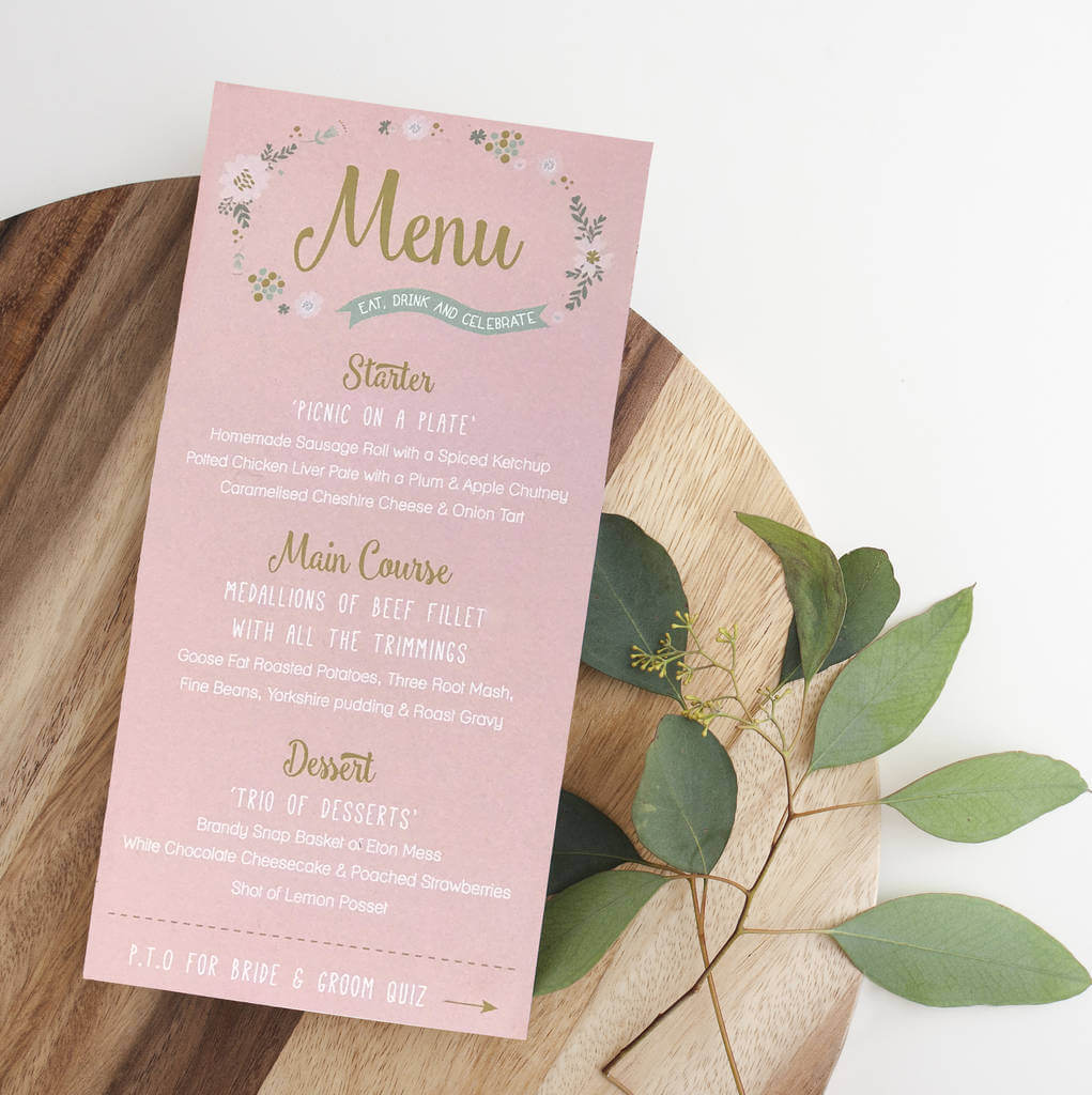 This Illustrative Flower Menu design adds colour and elegance to your wedding dining table. Guests names can be added to the top to team up as a place card.