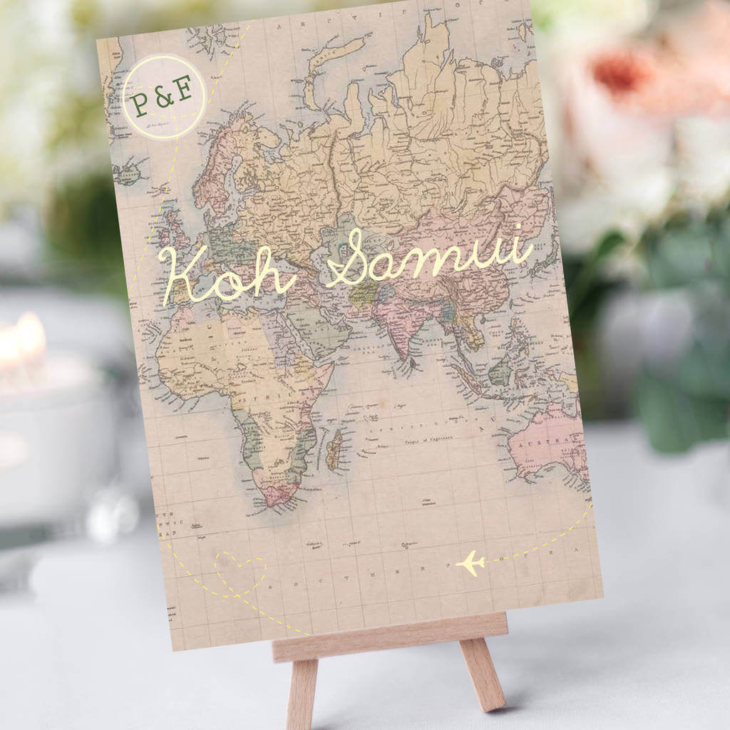 Vintage Map table names - Designed by Rodo Creative in Manchester
