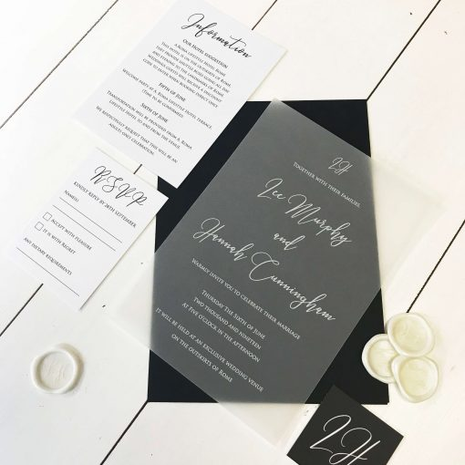 White Ink Translucent Vellum Wedding Invitations - by Rodo Creative