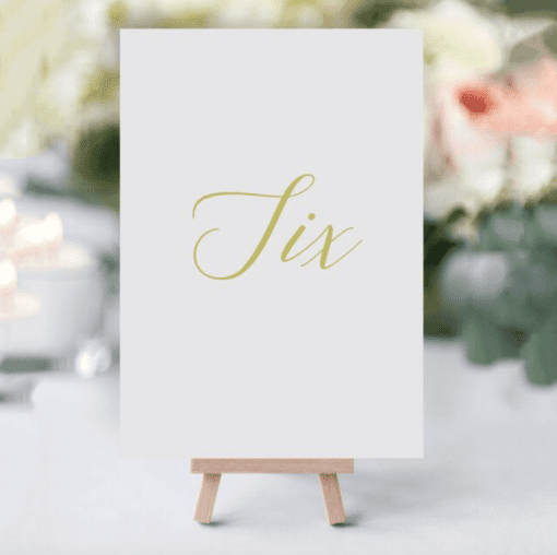 Elegant Gold Table Numbers - Designed by Rodo Creative in Manchester