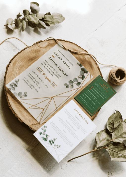 Eucalyptus Geometric Vellum Invitation - Designed by Rodo Creative