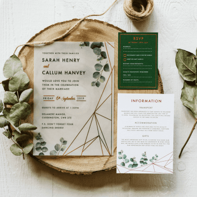 Eucalyptus Geometric Vellum Invitation - Designed by Rodo Creative