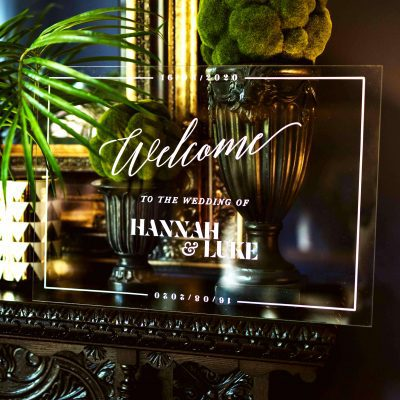Acrylic Wedding Welcome sign - Designed by Rodo Creative, Manchester