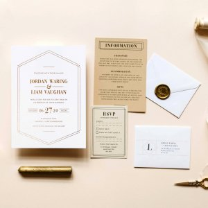 Gatsby Lux Wedding Invitations - Designed by Rodo Creative, Manchester