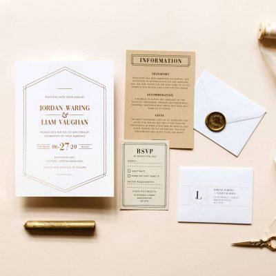 Gatsby Lux Wedding Invitations - Designed by Rodo Creative, Manchester