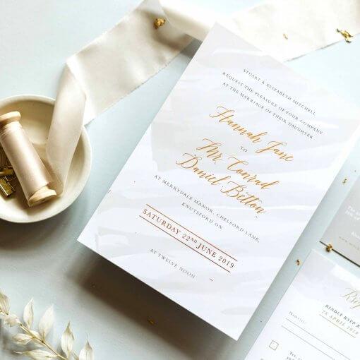 Grey Watercolour Wedding Invitations, Designed by Rodo Creative