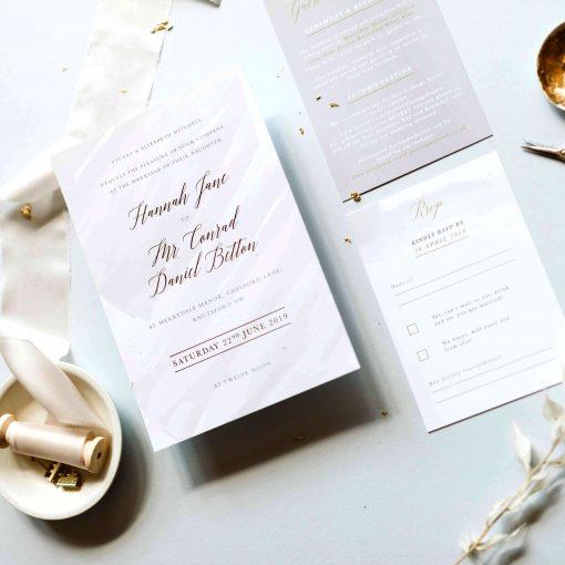 Grey Watercolour Wedding Invitations, Designed by Rodo Creative, Invite wording for an informal wedding
