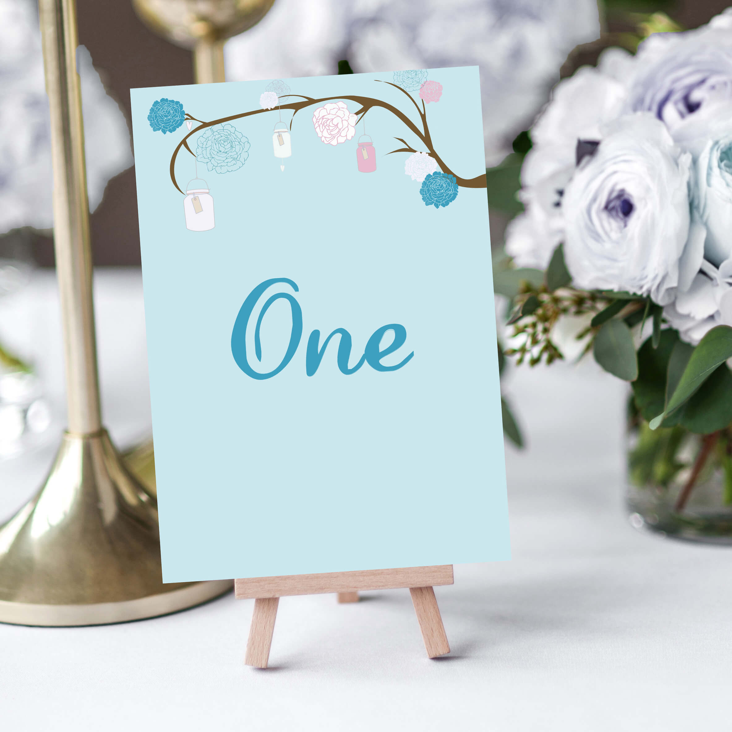 French Floral Wedding Table Numbers - Designed by Rodo Creative