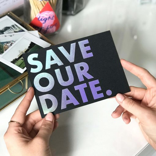 Rainbow Holographic Foiled Save the Dates - Designed by Rodo Creative