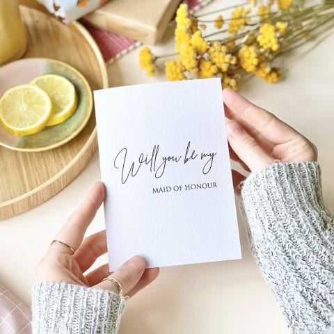 Grey Laid Maid of Honour Card - Designed by Rodo Creative